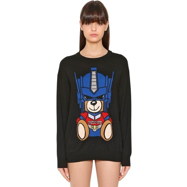29e864307e1 Moschino Women Transformer Bear Intarsia Knit Sweater (£410) ❤ liked on  Polyvore featuring tops