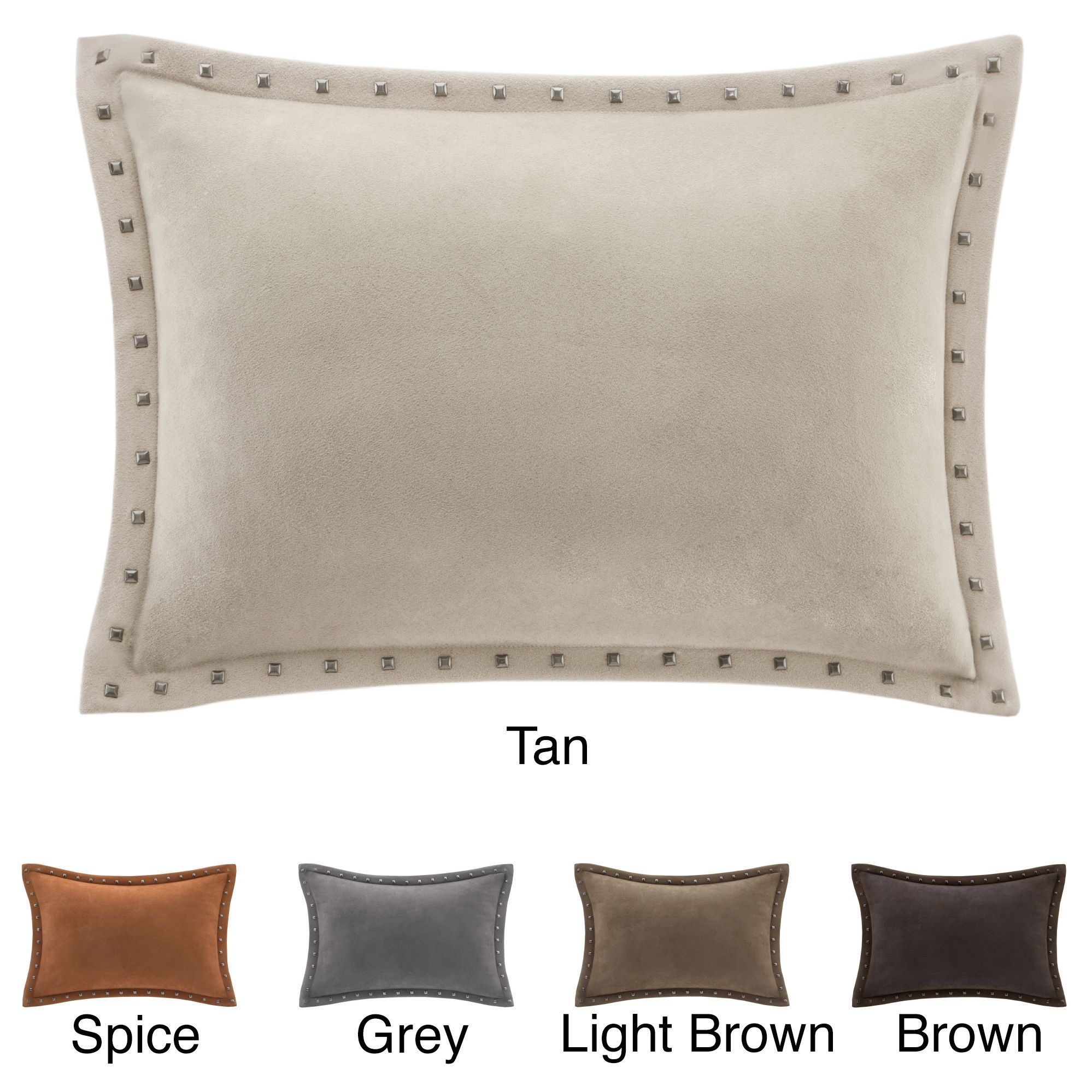 Mix And Match With The Oblong Stud Trim Suede Pillows The