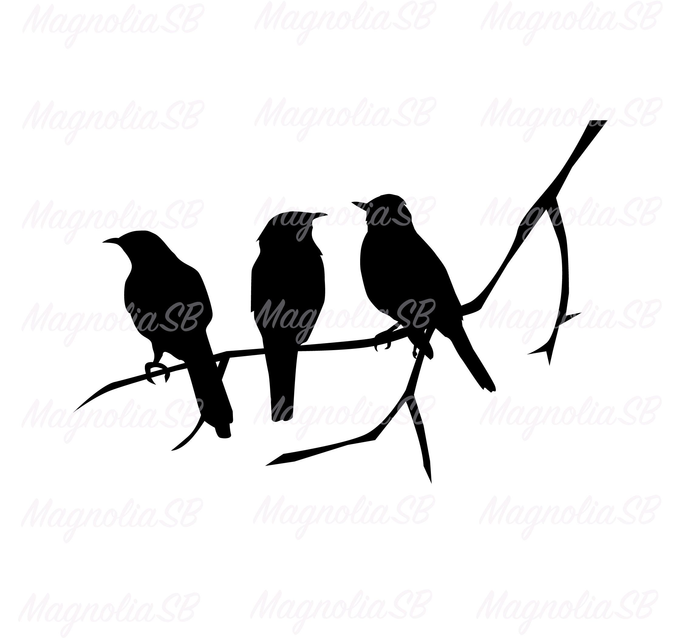 Birds On The Tree Branch Svg Birds Dxf Birds Clipart Bird Etsy In 2021 Bird Silhouette Art Silhouette Art Bird Clipart