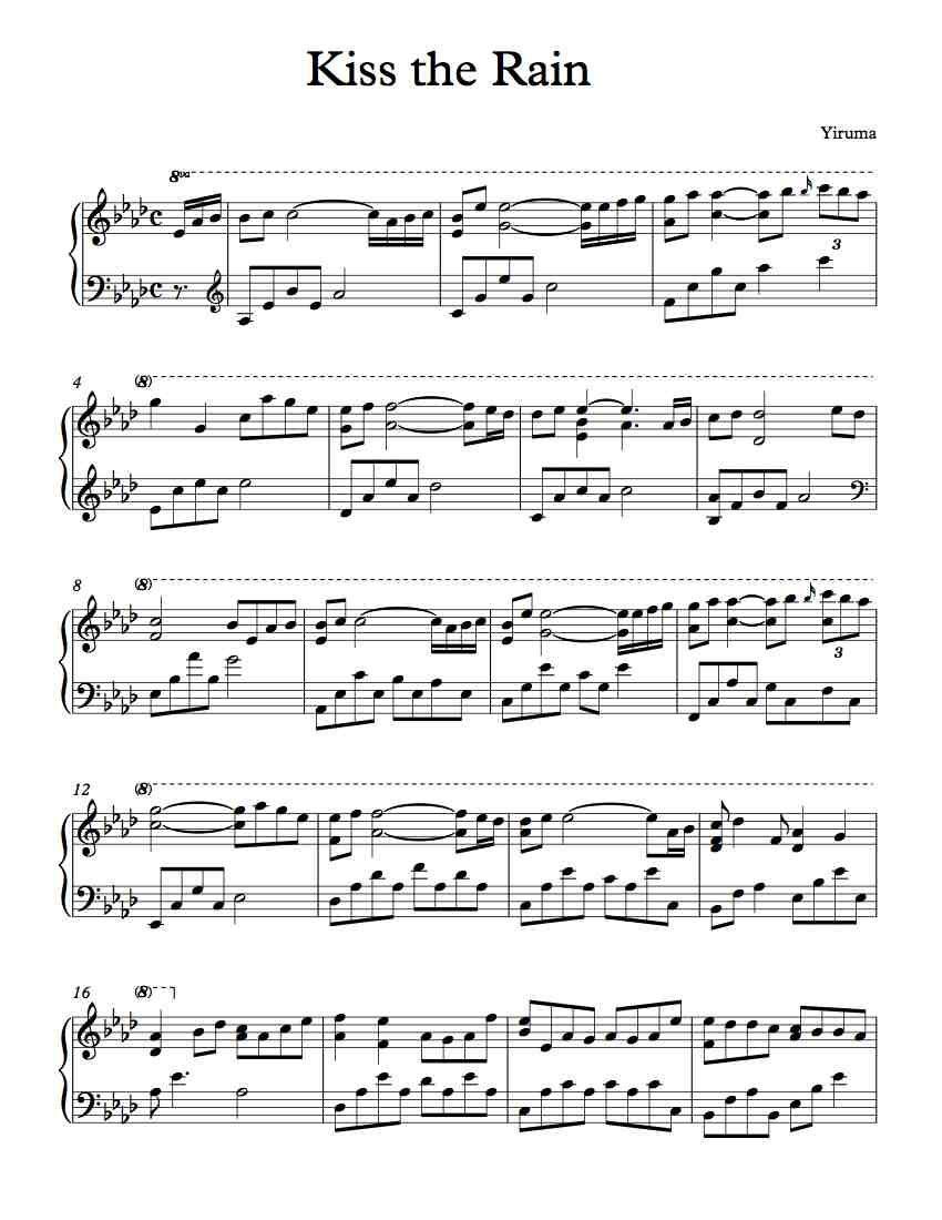 Kiss The Rain Jpg 850 1 100 Pixels Piano Sheet Music Sheet Music