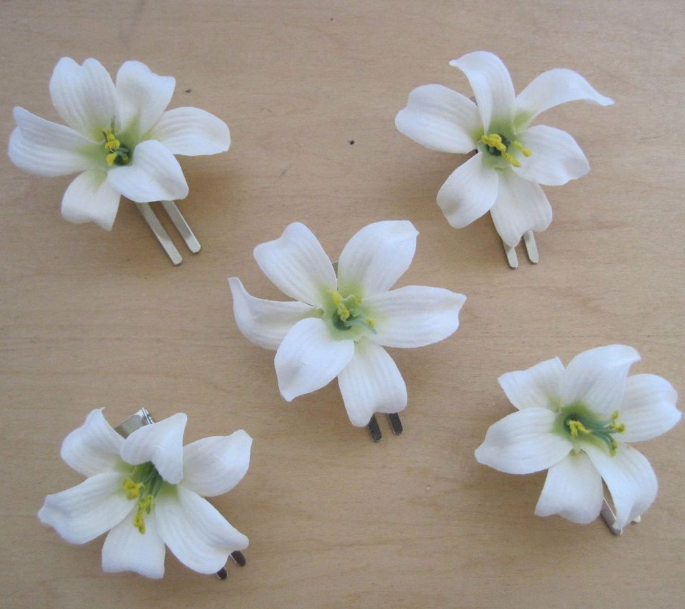 5 Piece Lot Small 2 Cream White Lily Silk Flower Hair Clipwedding