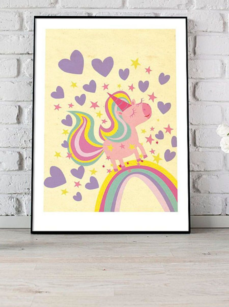 Brighten any girls room or nursery with this pink unicorn print ...