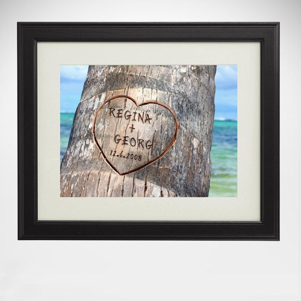 Die romantischste Liebeserklärung seit es Bäume gibt: Unser personalisierbares Bild Herz im Baum.