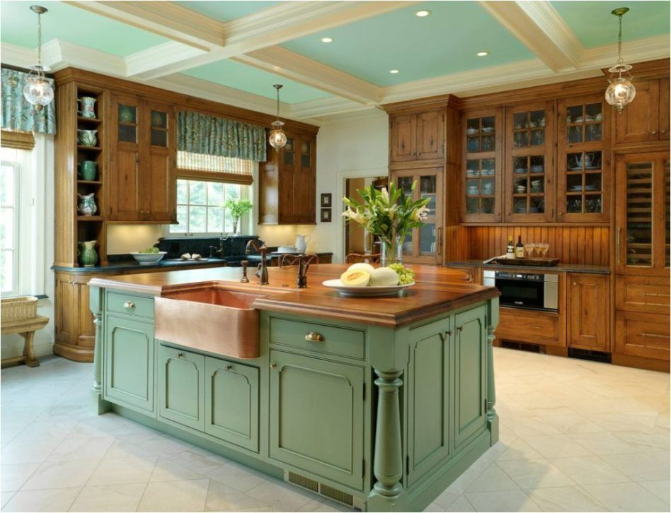 Traditional Kitchen L Shaped Dark Brown Stained Cherry