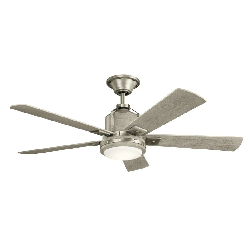 Kichler 300052ni Brushed Nickel Colerne 52 5 Blade Ceiling Fan With Blades And Wall Control Ceiling Fan With Light Fan Light Ceiling Fan
