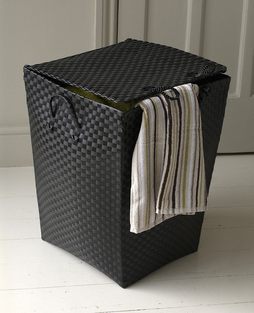 Stylish Black Laundry Basket Made From Woven Plastic Strapping Laundry Basket With Lid Black Laundry Basket Laundry Bag