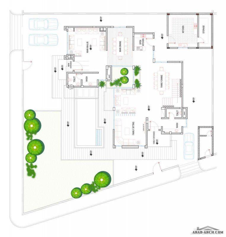 منازل جدة فيلا نموذج A1 مساحة الارض 810 M 2 مساحة مسطح البناء 619 M 2 New House Plans House Floor Plans House Plans