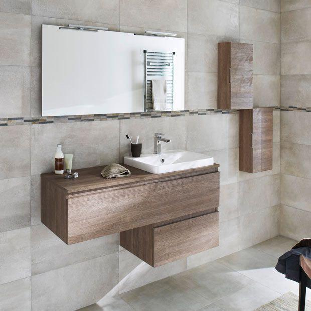 Meuble de salle de bains Néo, imitation noyer Salle de bain - leroy merlin meuble salle de bain neo