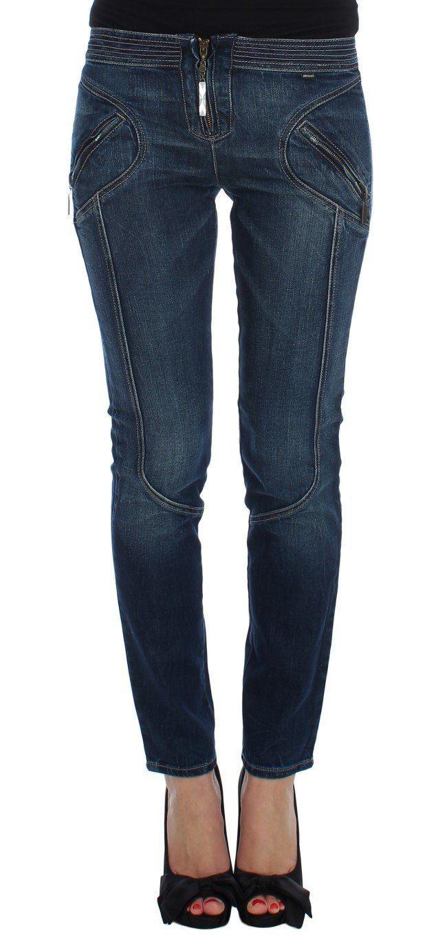 Blue Cotton Stretch Slim Fit Skinny Jeans