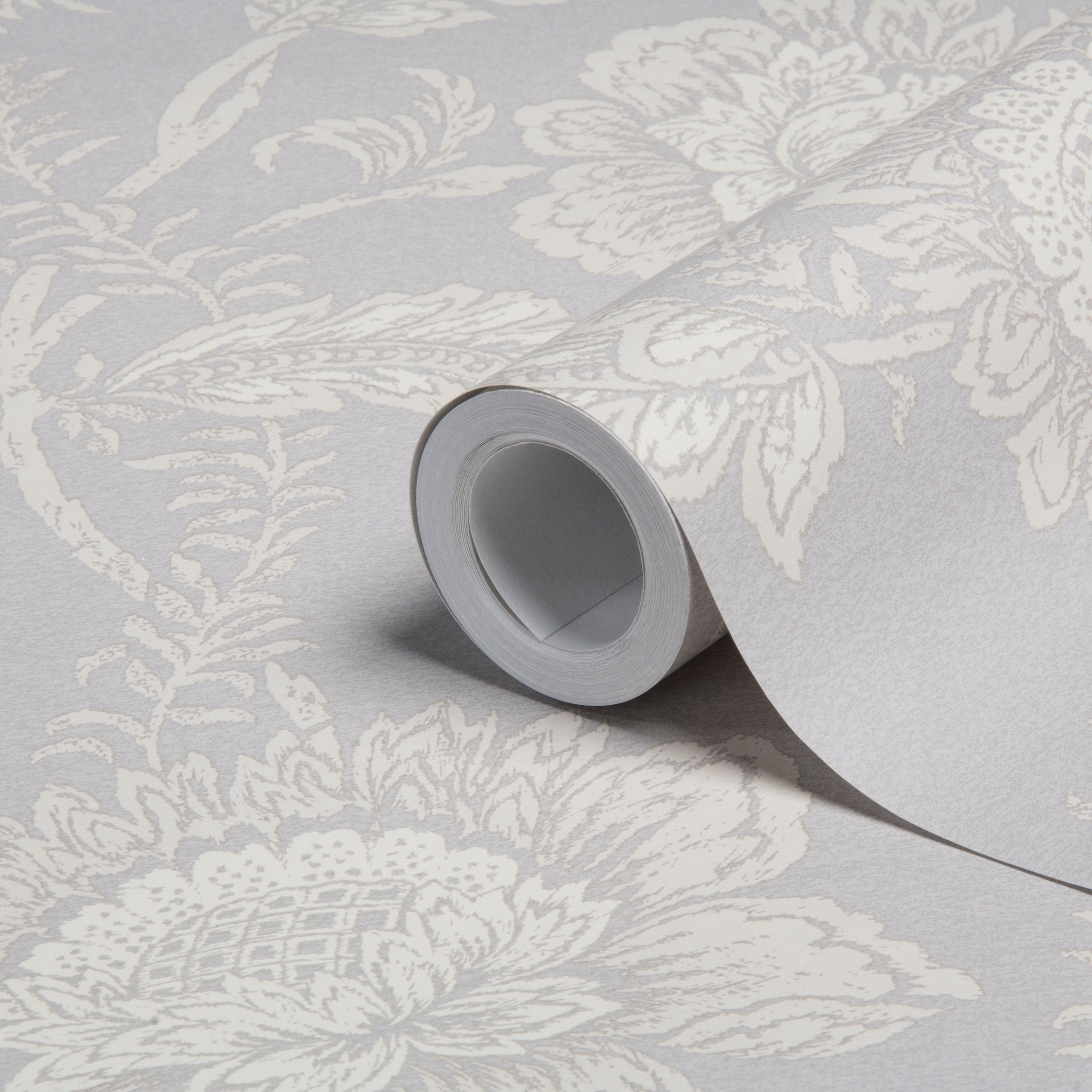 Diy supplies accessories diy at b q - Cabaletta Grey Floral Wallpaper Departments Diy At B Q