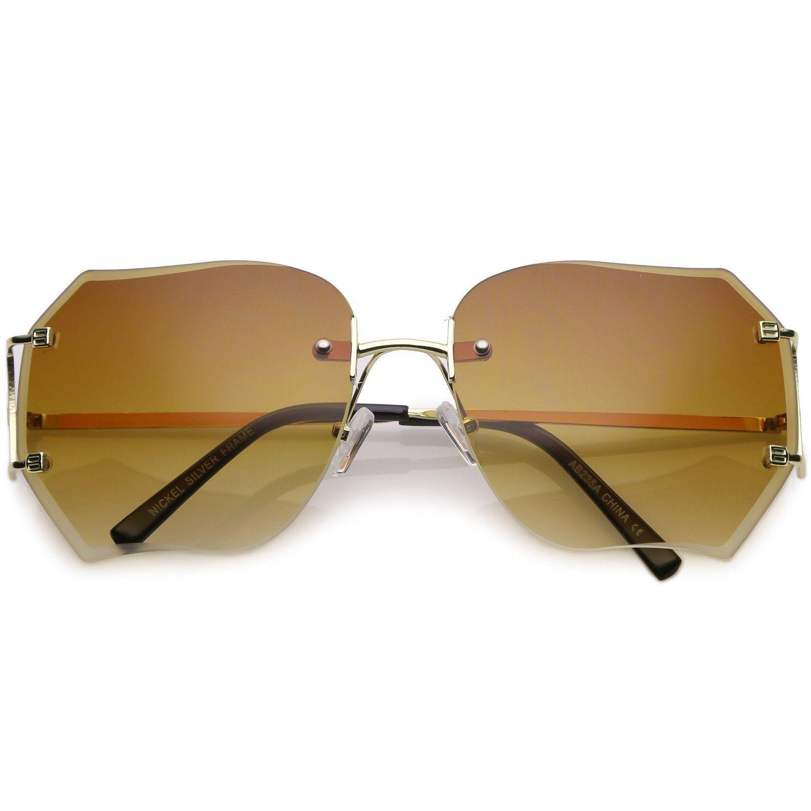 11330e3726 Oversize Rimless Square Sunglasses Slim Metal Arms Beveled Gradient Lens  61mm  sunglasses  sunglass  frame  summer  purple  sunglassla  clear  bold   cateye ...