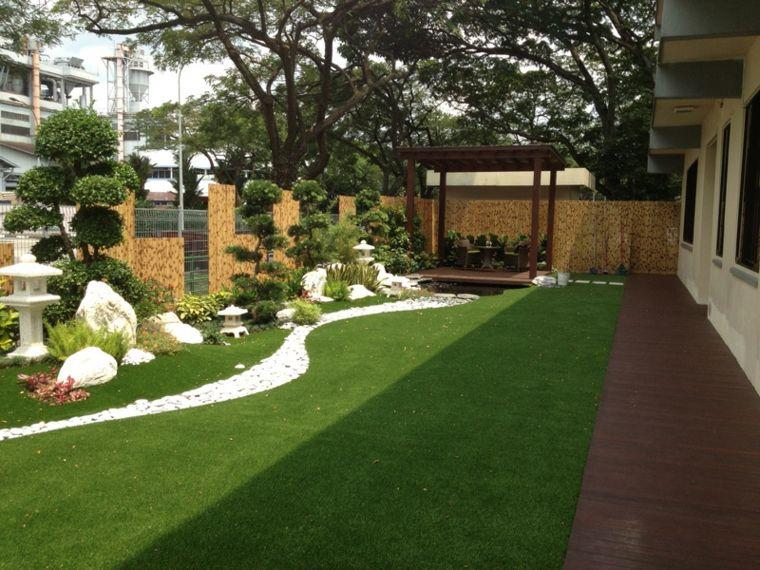 Decoracion De Jardines Con Cesped Artificial 50 Ideas Jardin Con Cesped Artificial Jardines Decoraciones De Jardin