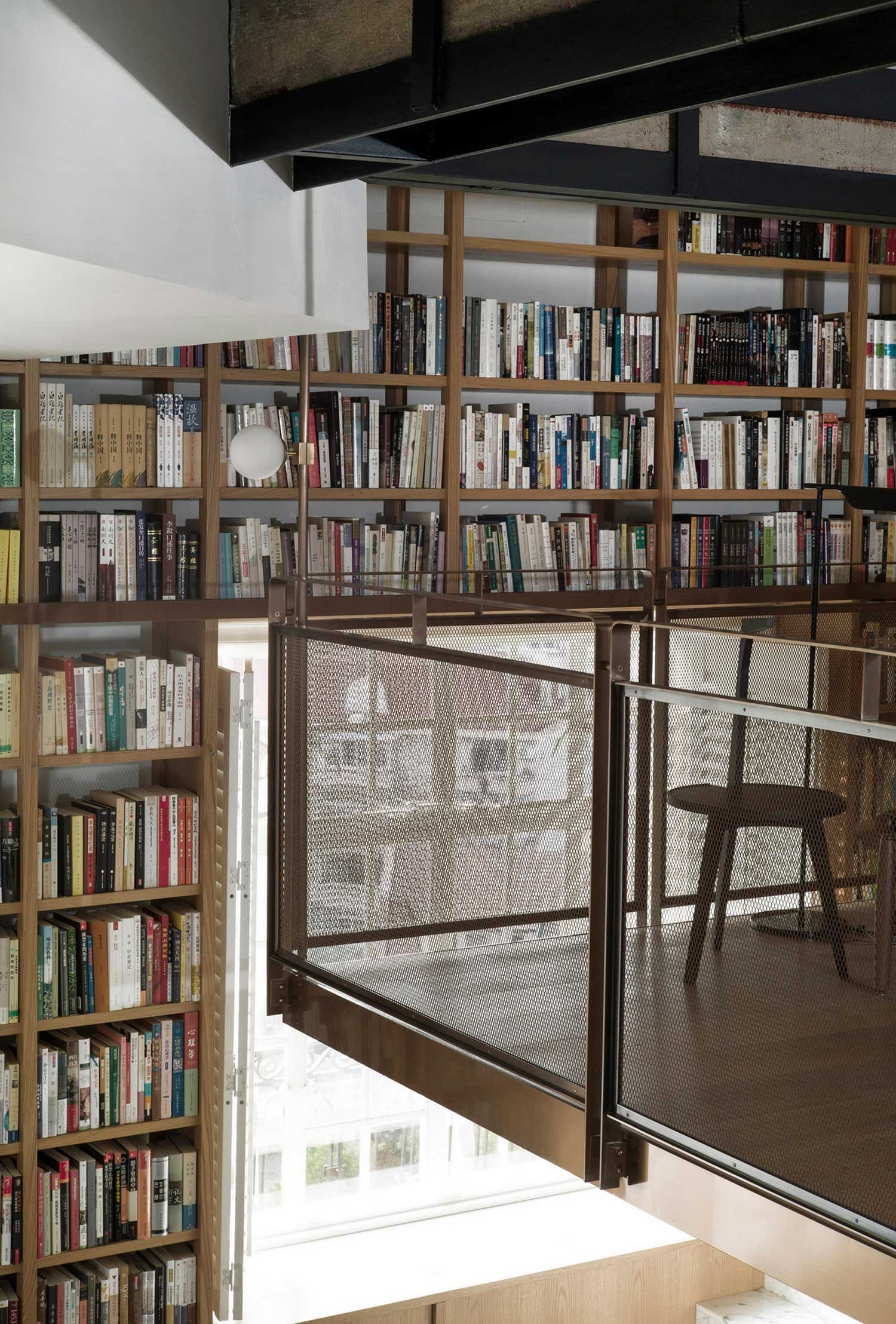 ceiling bookcase roselawnlutheran library modern with to bookshelves floor ladder