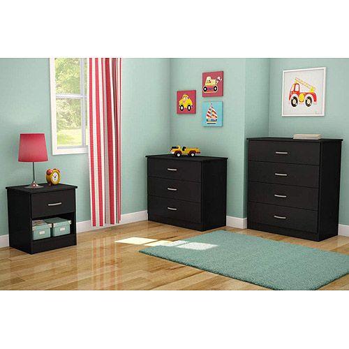 South S Smart Basics 3 Piece Dresser Set Black