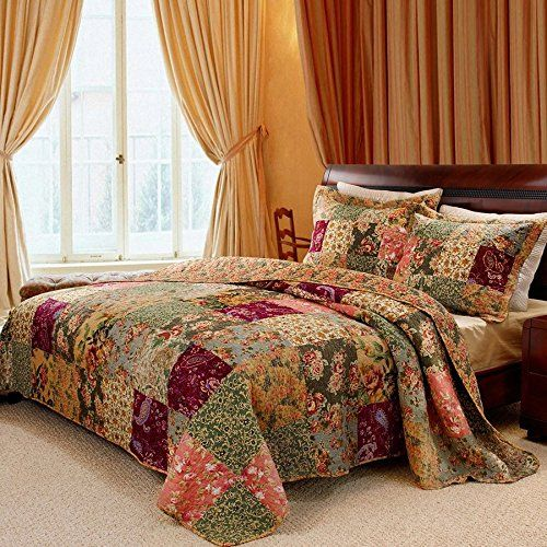 3 Piece Oversized King Bedspread Quilt Set To The Floor French Country Patchwork Pattern Floral Paisley Prin In 2020 Bed Spreads Country Bedroom Rustic Bedroom Decor