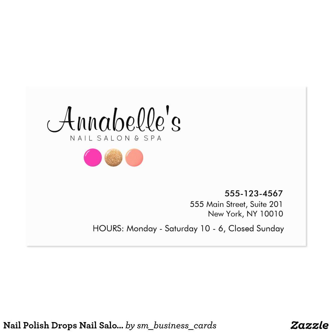 Nail Polish Drops Nail Salon Manicurist Business Card Nail Salon