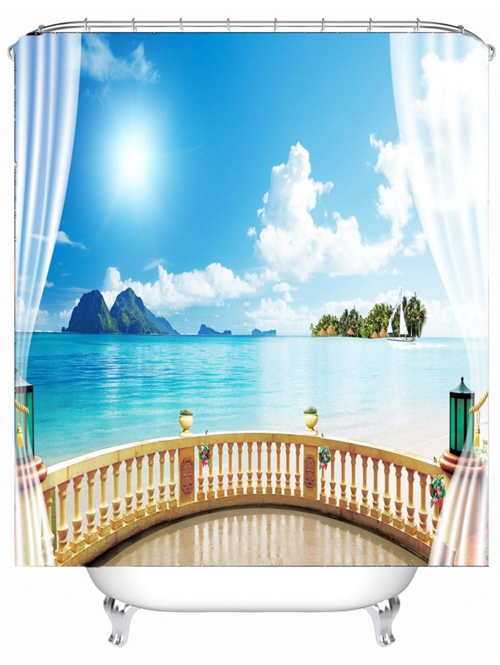 Seascape Printed Water Resistant Fabric Shower Curtain
