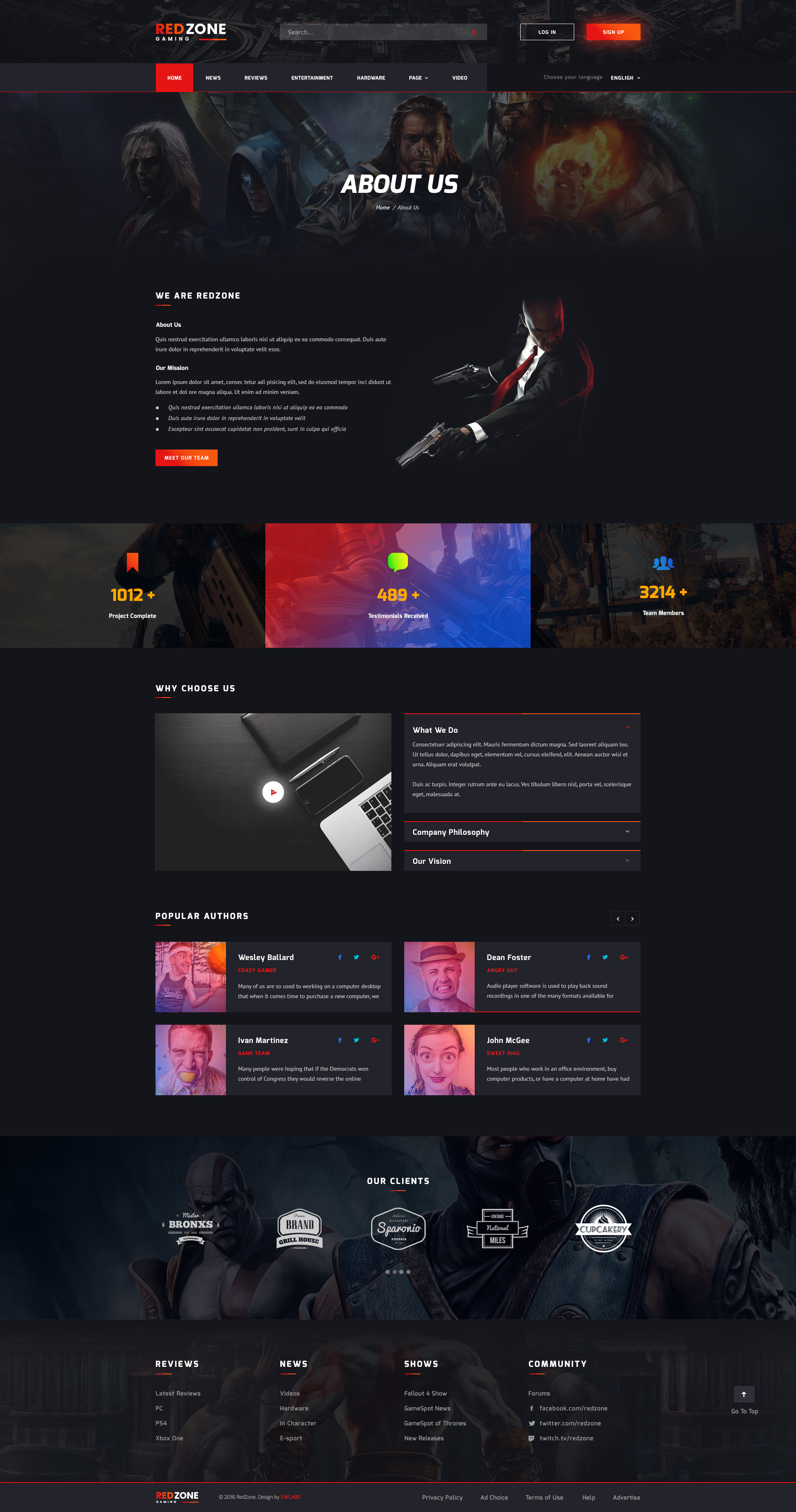 red zone game psd template blog review portal community