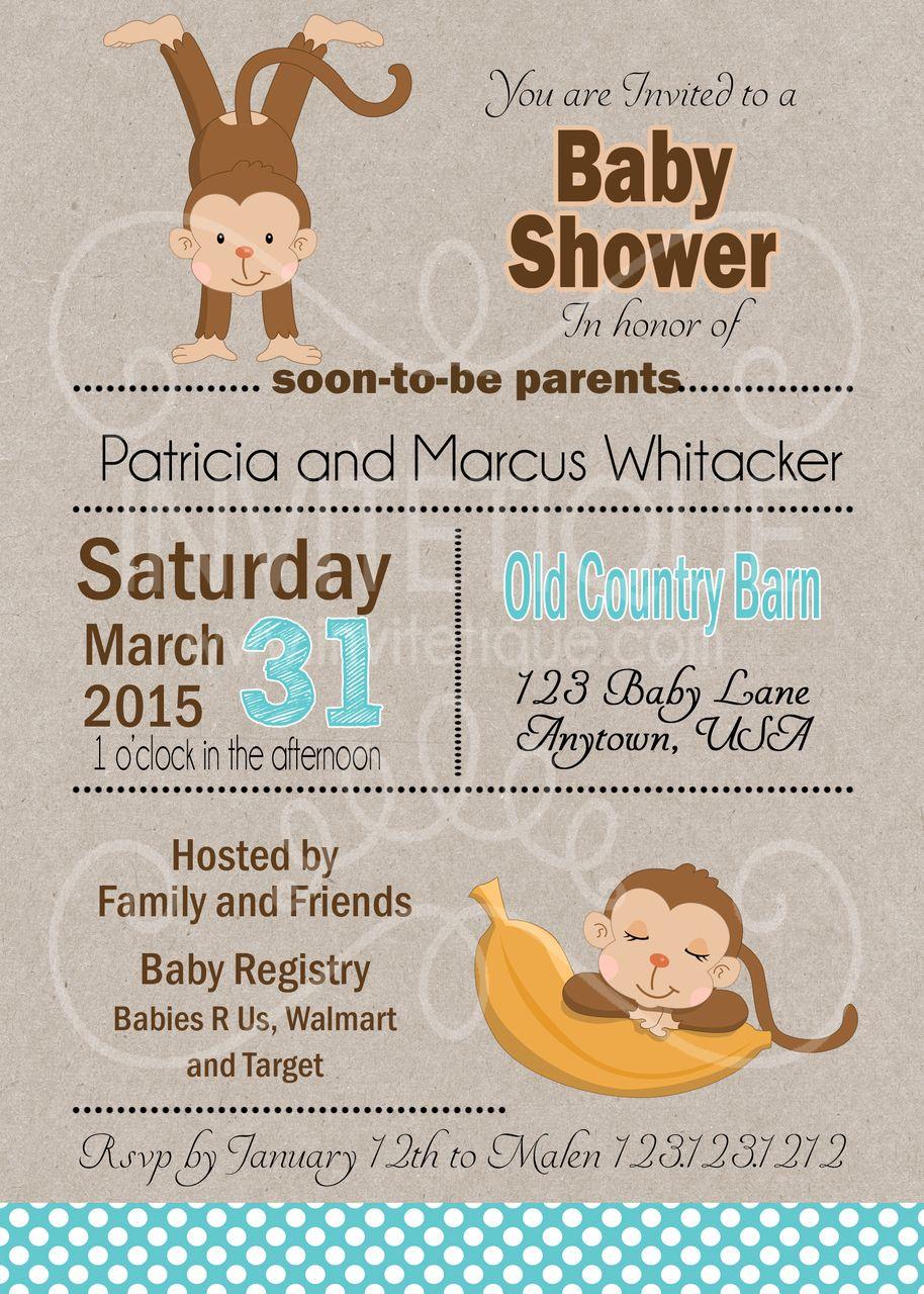 Jungle Monkey Boy Baby Shower Invitations | Boy baby showers, Shower ...