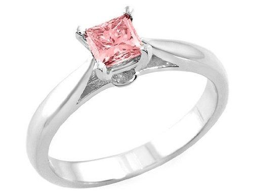 8187ece87db0 Anillo Con Diamante Rosa Corte Princess .50 Ct.
