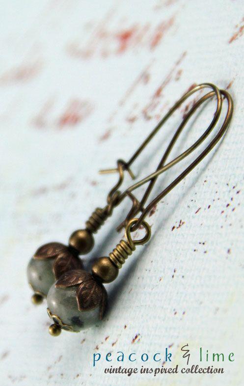 vintageinspired kiwi jasper drop earrings by by peacockandlime,