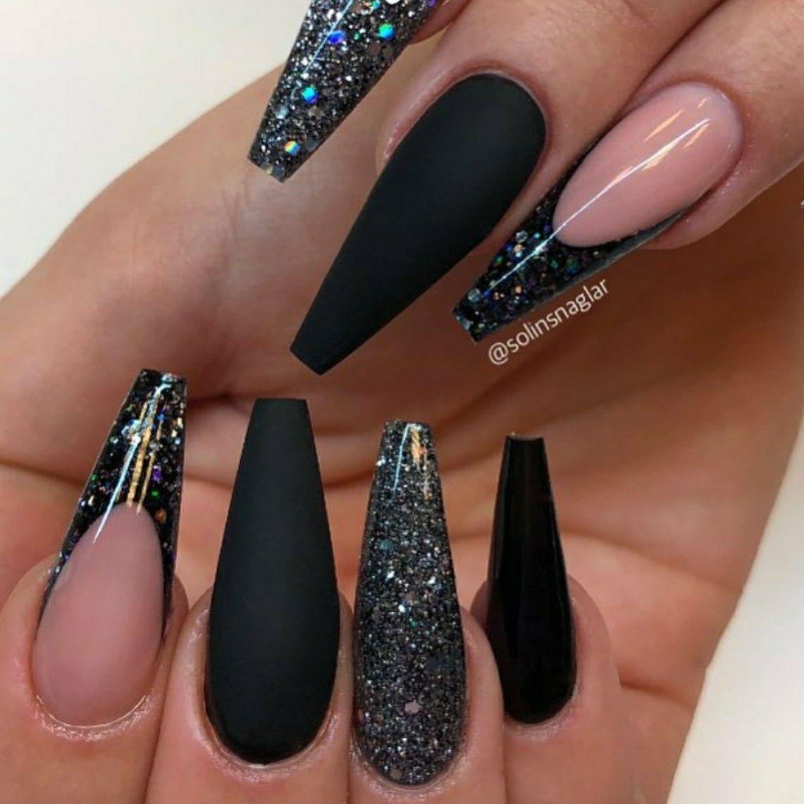 ballerina nails  black nails  acrylic nails  glitter nails