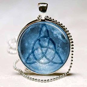 Triquetra Starry Sky Celtic Symbol Dark Blue Photo Pendant Silver Necklace Jewelry by ChicBridalBoutique on Opensky