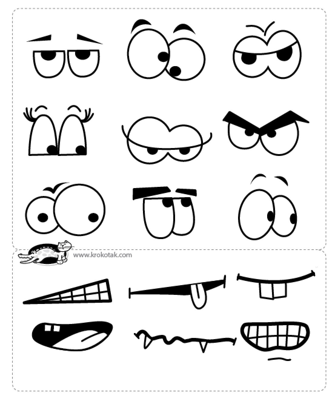 template for eyes and mouths gift baskets pinterest drawings