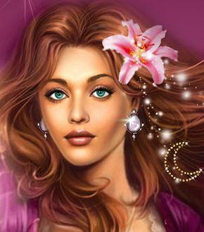 Шатенка с лилией в волосах с голубыми глазами   Arte ...