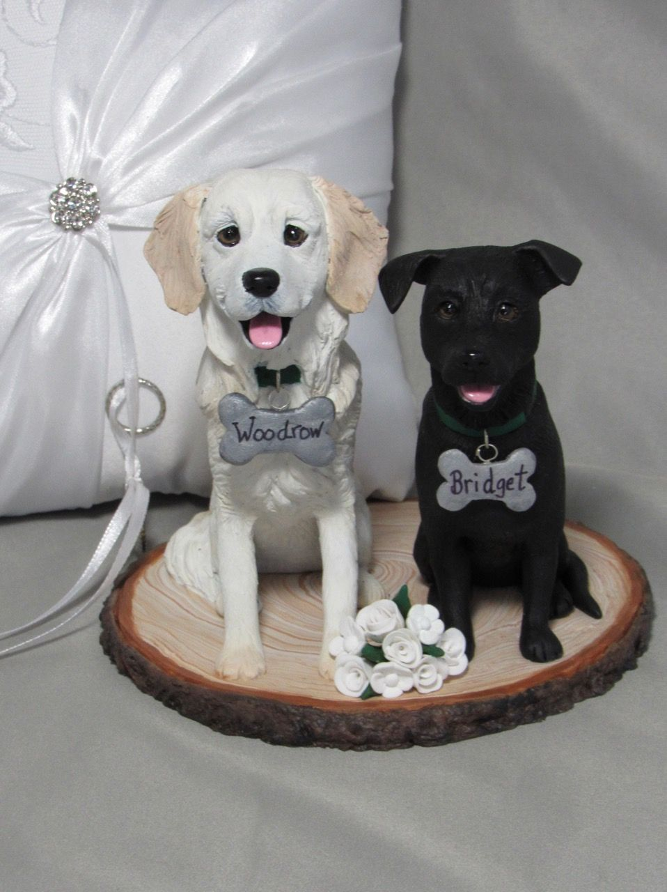 Custom dog wedding cake topper. Hand sculpted from polymer