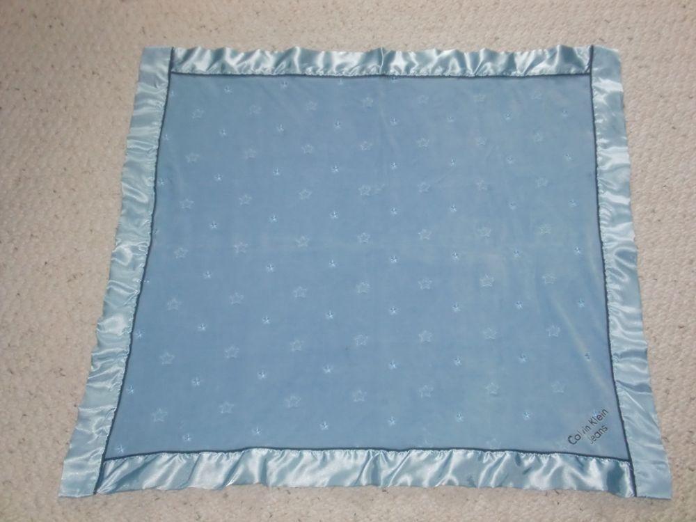 Calvin Klein Baby Boy Blue Blanket Navy Velour Cotton Stars Satin Trim Boy Nursery Bedding Boy Nursery Bedding Sets Crib Blanket