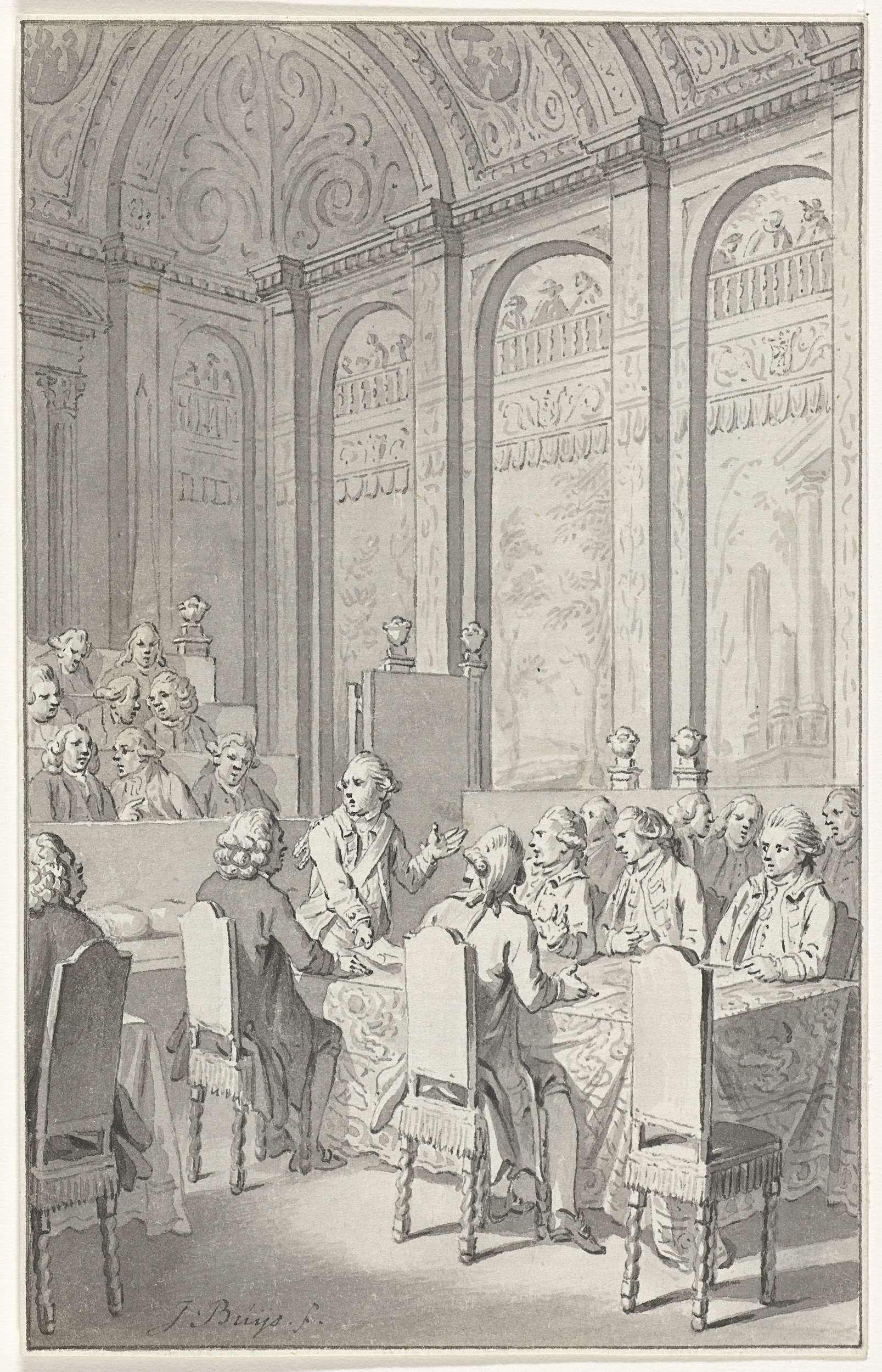 Jacobus Buys | Willem V toont de papieren van Laurens, 1780, Jacobus Buys, 1780 - 1795 | Stadhouder Willem V levert bij de vergadering van de Staten van Holland de door de Engelsen in beslag genomen papieren van de Amerikaan Henry Laurens in, 20 oktober 1780. Ontwerp voor een prent.