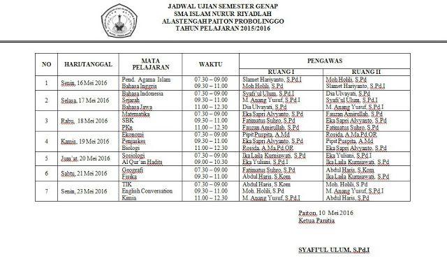 SMA ISLAM NURUR RIYADLAH Jadwal Ujian Semester Genap 2016 sekolah