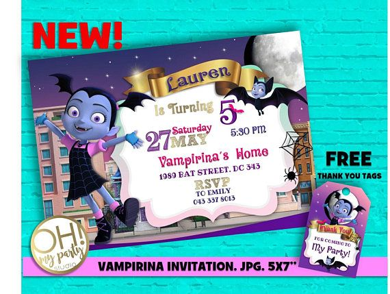 VAMPIRINA Birthday Invitation, Vampirina Party, Vampirina Birthday, Vampirina  Invitation, Vampirina Disney,