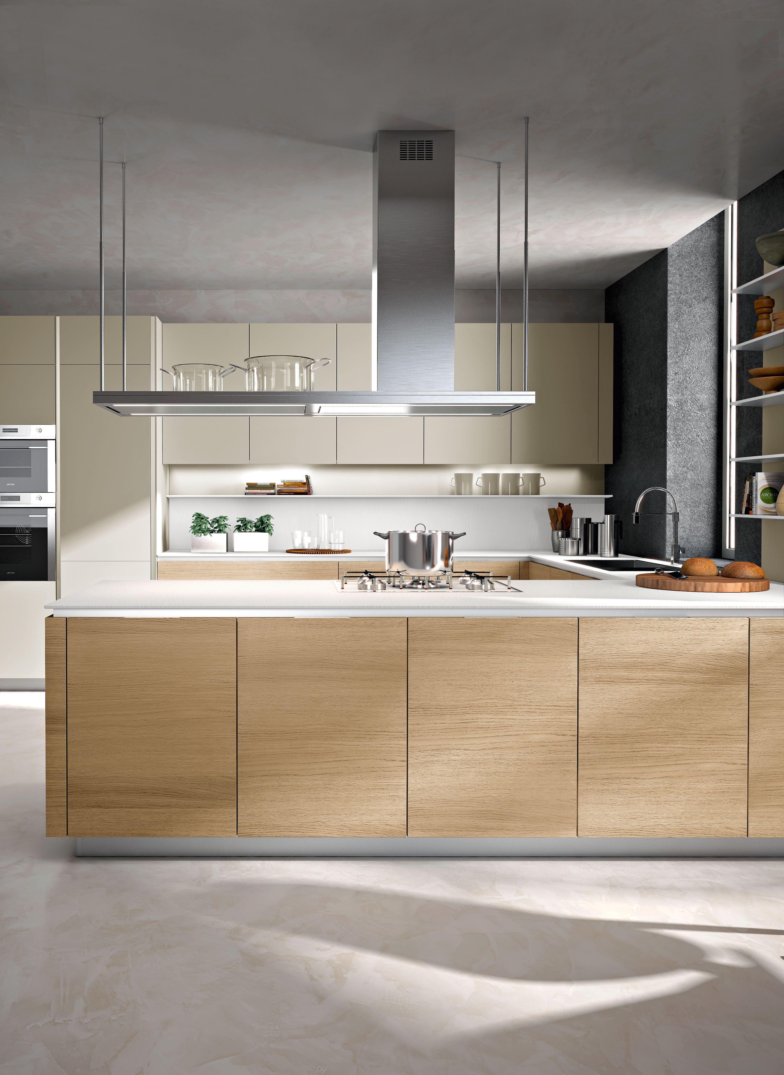 balanced and meditative calm, snaidero orange kitchen design