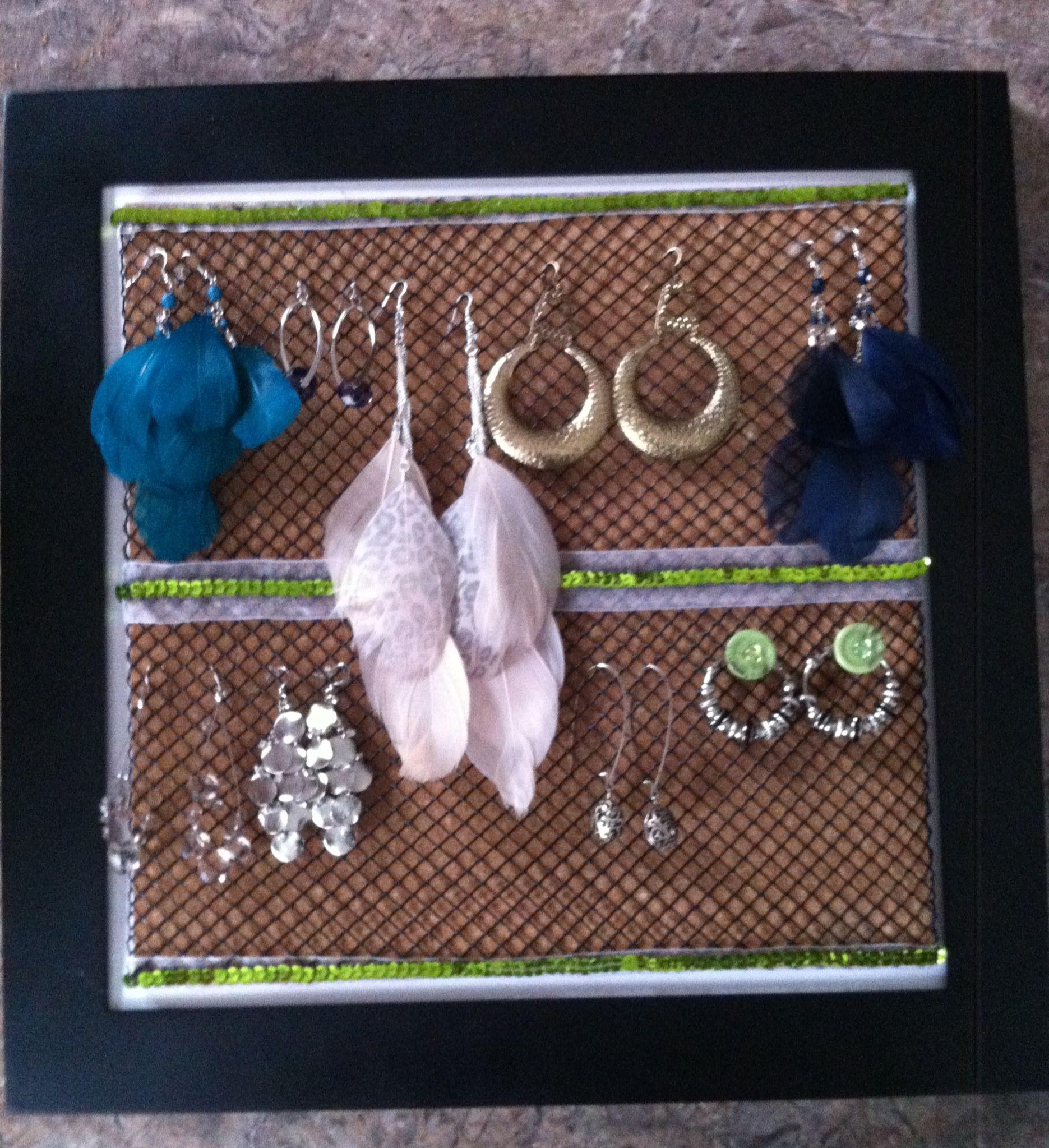 DIY earring hanger (cork, plastic gutter sheild, picture