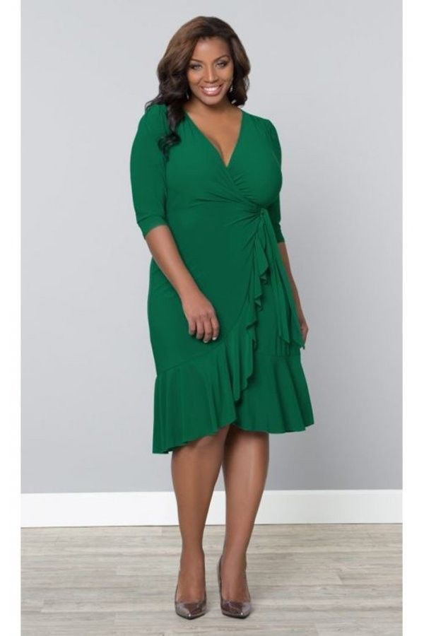 63630d8d02b Kiyonna Plus Size Whimsy Wrap Dress in Kelly Green is just so feminine and  totally flattering! The V neckline and delicate ruffles on the skirt of  this wrap ...