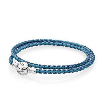 bce2ee21605 LXBOUTIQUE - Pulseira PANDORA de Couro Mix Azul 590747CBMX