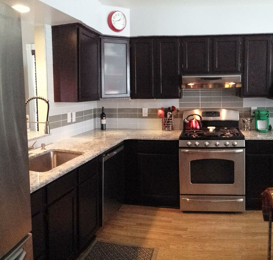 Kitchen Renovations Dark Cabinets: My Kitchen Remodel - 2015 Dark Cabinets - Moon White Granite Glass Tile