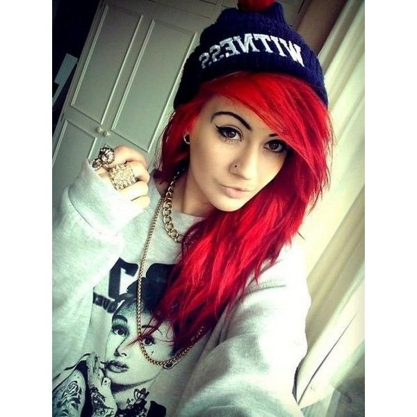 Is There A Brand Of Bright Red Hair Dye That Actually5 Liked On Polyvore Featuring Accessories Hair Accessories Red Scene Hair Emo Hair Color Red To Blonde