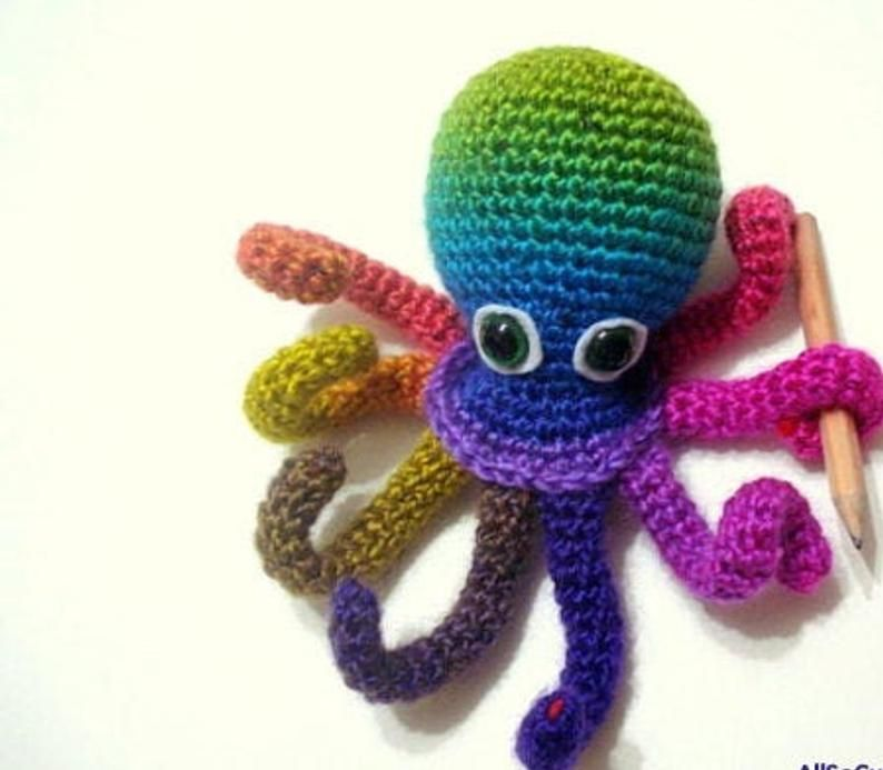 Crochet Tutorial, Octopus, Amigurumi Crocheted Octopus Pattern, Instant Download