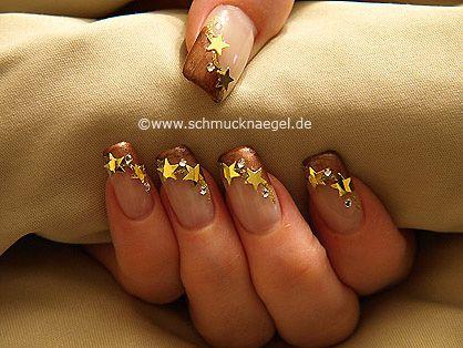 Nail art motivo 199 - Estrellas y piedras strass - http://www.schmucknaegel.de/