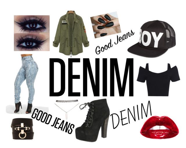 """""""Denim Contest"""" by rkburke ❤ liked on Polyvore featuring Givenchy, BOY London, Wet Seal and Breckelle's"""