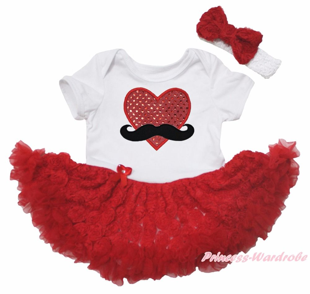Bling In The New Year Red Bodysuit Girls Romantic Rose Baby Dress Outfit NB-18M