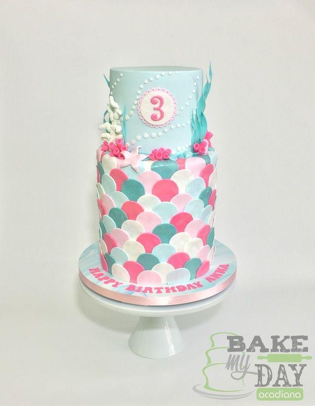 pink teal white blue mermaid themed birthday cake for girl