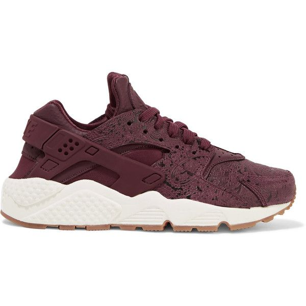 Nike Air Huarache Run embossed leather and mesh sneakers (£105) ❤ liked on Polyvore featuring shoes, sneakers, burgundy, leather lace up shoes, perforated shoes, nike shoes, perforated leather shoes and lightweight shoes