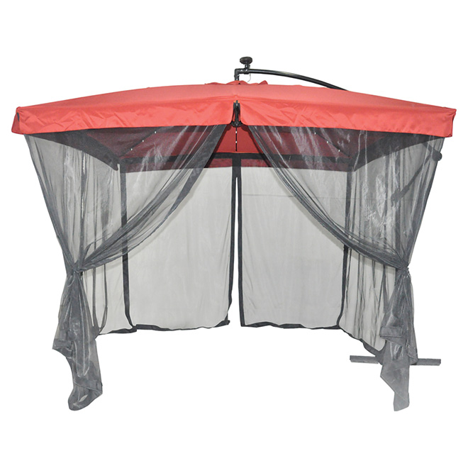 Uberhaus Solar Light Cantilever Patio Umbrella With Netting 8070l Rona Cantilever Patio Umbrella Cantilever Umbrella Patio Umbrella