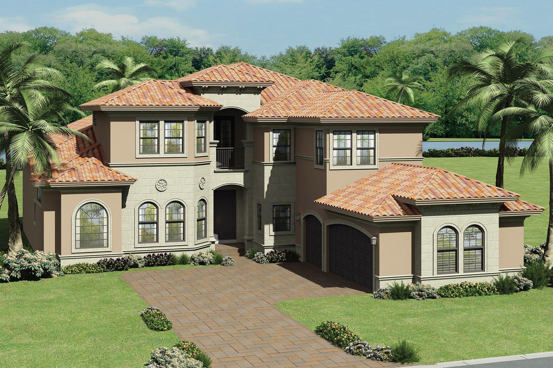 Seven Bridges Colonnade Grande Mediterranean Style Rendering Florida Real Estate African House Mediterranean Homes