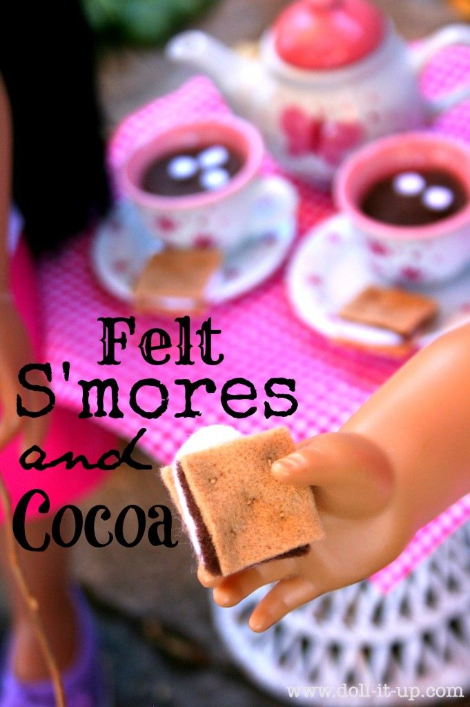 Make doll size s'mores and cocoa with felt