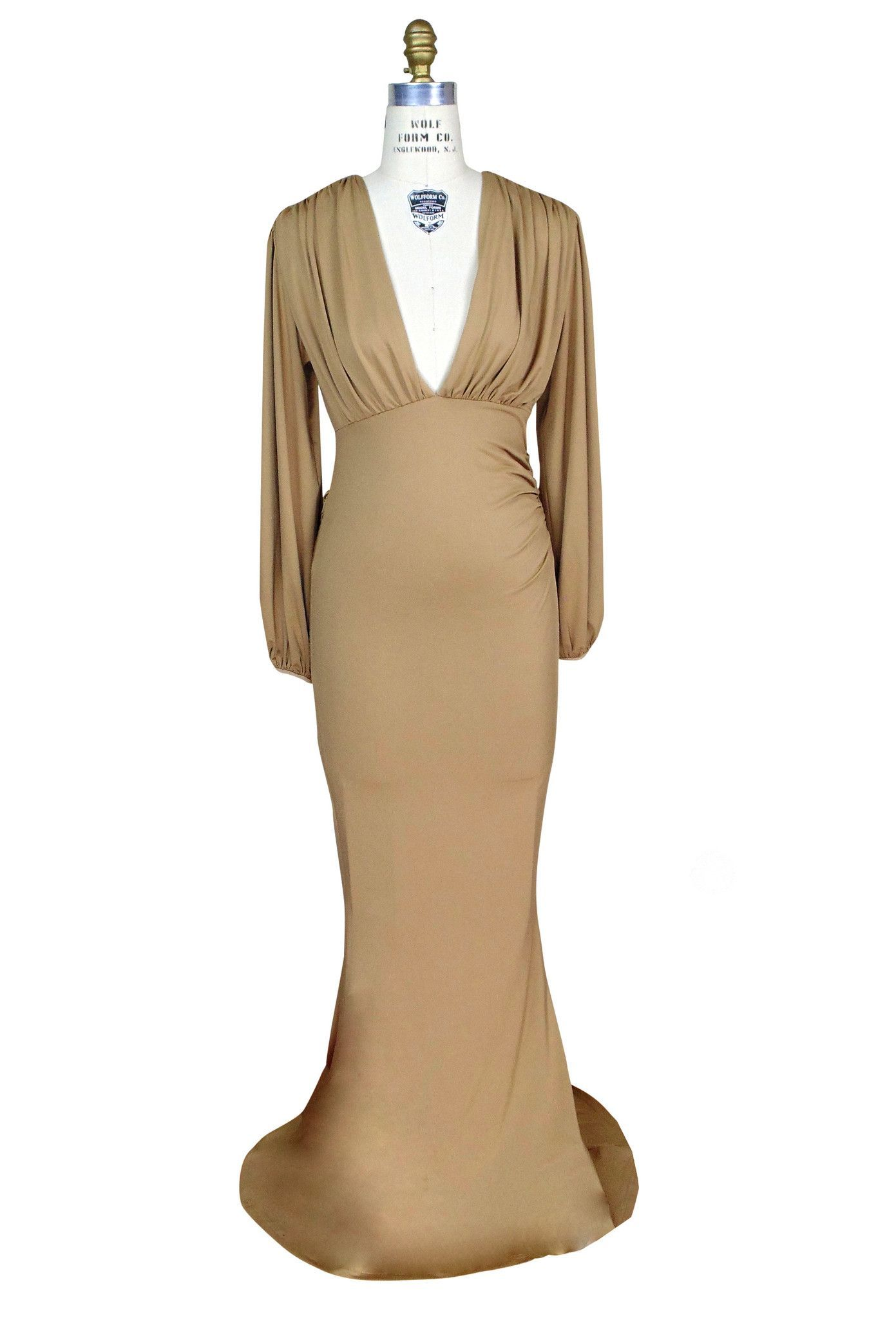 Us style bias ruched long sleeve fulllength hayworth gown